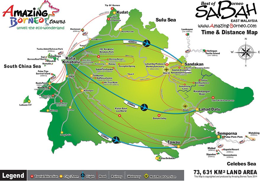 Sabah Time & Distance Map (Amazing Borneo)